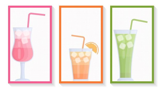 Бокалы ярких вкусных коктейлей баннерное меню, плакат, рекламный флаер и буклет