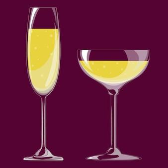 シャンパングラス。ベクトルイラスト。 eps 10