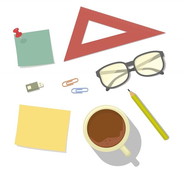 Очки, карандаш, линейка, клип, бумага.