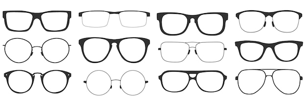 Glasses in retro style, isolated on white background