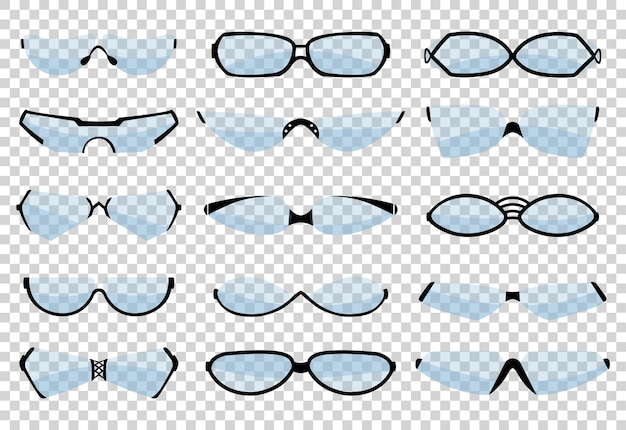 Glasses silhouette, eyewear and optical accessory. various shapes.