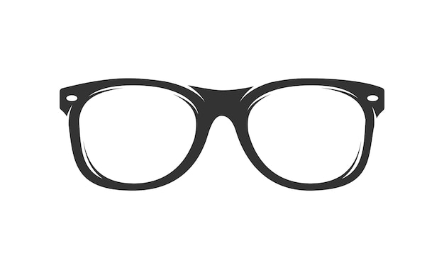 白い背景で隔離のメガネシルエット