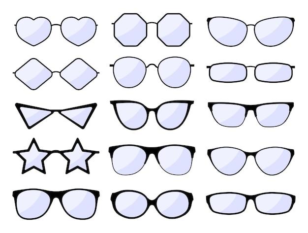 Очки силуэт. очки в стильной оправе, модели очков черного цвета. модное стекло для очков. хипстерские солнцезащитные очки. набор изолированных иконок. иллюстрация очки окуляр, зрение и очки