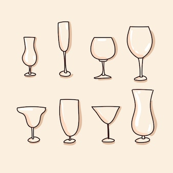 Glasses, tableware set of icon. hand draw