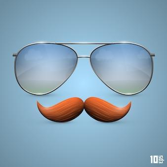 口ひげのオブジェクトが付いている眼鏡。ベクトルイラストアート10eps