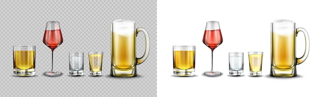 Glasses with alcohol drinks