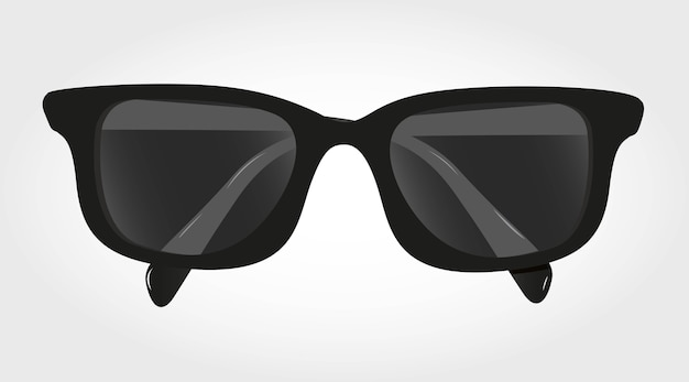 Glasses with black lenses isolated