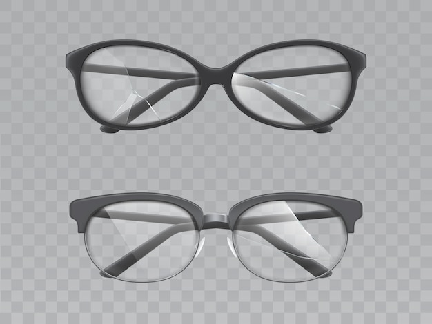 Glasses with broken lenses realistic vector set