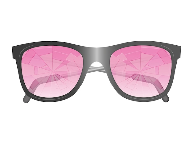 Glasses with broken pink glasses. isolated image.