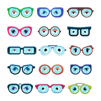 Glasses with eyes  cartoon eyeglass frame or sunglasses in shapes and accessories for hipsters fashion optical framing spectacles eyesight view set illustration isolated on white background