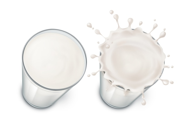 Glasses with milk, splashing in the glass. mock up of farm product isolated