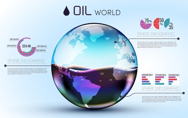 Glasses world oil background infographic concept