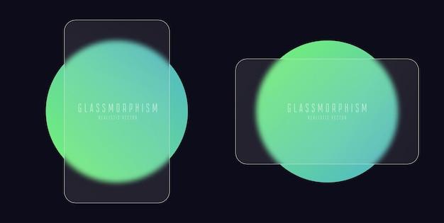 緑のグラデーション円マットプレキシグラス上の透明なガラスプレートのセットによるガラス形態効果