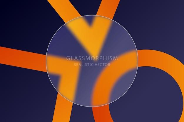 밝은 색상의 기하학적 모양이 있는 배경에 투명 유리판이 있는 유리 형태 효과