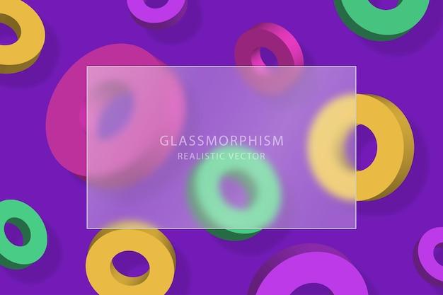 여러 가지 빛깔의 3d 고리를 움직이는 배경에 투명 유리판을 사용한 유리 형태 효과