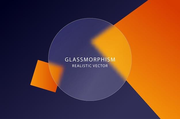Glassmorphismつや消しアクリルまたは円形のガラス形態のプレキシガラスプレートガラス形態ベクトル