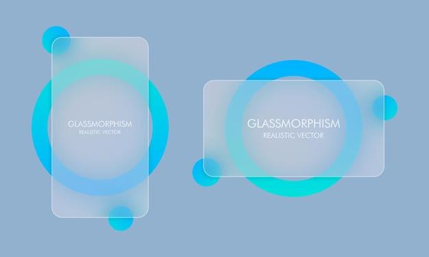 Стиль глассморфизм. пустой баннер продажи. реалистичный эффект морфизма стекла с набором прозрачных стеклянных пластин. векторная иллюстрация.