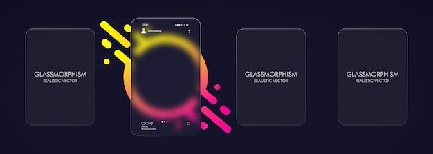 Стиль глассморфизм. фото карусель пустой шаблон. реалистичный эффект морфизма стекла с набором прозрачных стеклянных пластин.