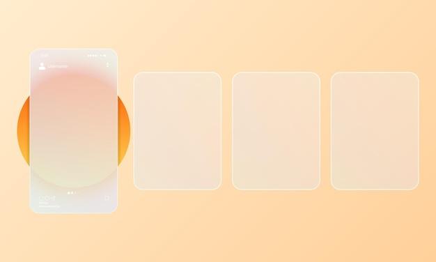 Стиль глассморфизм. фото карусель пустой шаблон. концепция социальных сетей. реалистичный эффект морфизма стекла с набором прозрачных стеклянных пластин. векторная иллюстрация.