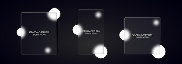 Стиль глассморфизм. реалистичный эффект морфизма стекла с набором прозрачных стеклянных пластин.