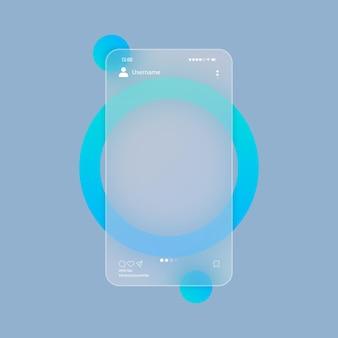 유리모피즘 스타일. 소셜 미디어 개념입니다. 사진 회전 목마 빈 템플릿입니다. 투명 유리판 세트로 현실적인 유리 모피즘 효과. 벡터 일러스트 레이 션.