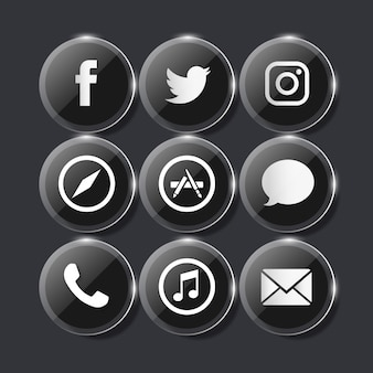 Glassy black social media icons