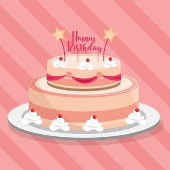 キャンドルとレタリングのイラストと艶をかけられたバースデーケーキ