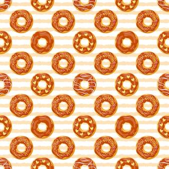 艶をかけられたチョコレートドーナツ、シームレスな子供のパターン