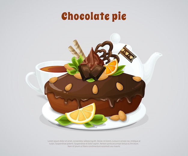Glazed chocolate pie illustration
