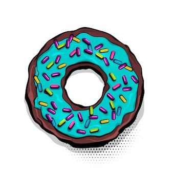 Глазированный пончик в стиле поп-арт