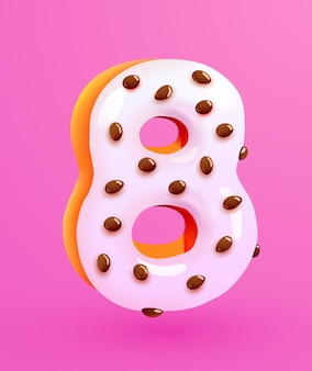 Glazed donut font number  number eight cake dessert style collection of tasty bakery numbers with cream anniversary and birthday concept illustration