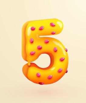 クリームの記念日と誕生日のコンセプトのイラストとおいしいパン屋の番号の艶をかけられたドーナツフォント番号5ケーキデザートスタイルのコレクション
