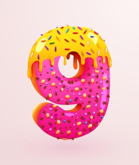 Glazed donut font number  number nine cake dessert style collection of tasty bakery numbers with cream anniversary and birthday concept illustration Premium Vector