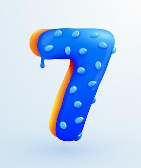 クリームの記念日と誕生日のコンセプトのイラストとおいしいパン屋の番号の艶をかけられたドーナツフォント番号7フォームケーキデザートスタイルのコレクション