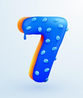 Glazed donut font number  number seven form cake dessert style collection of tasty bakery numbers with cream anniversary and birthday concept illustration