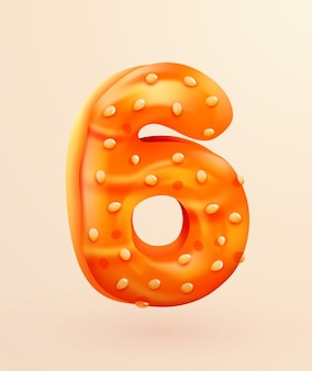 Glazed donut font number  number six cake dessert style collection of tasty bakery numbers with cream anniversary and birthday concept illustration