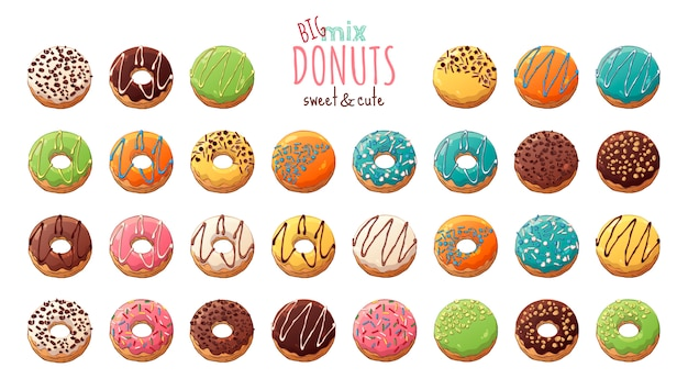 Glazed donuts decorated with toppings, chocolate, nuts.