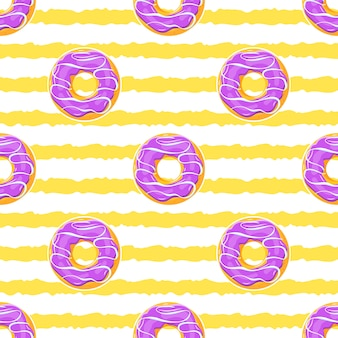 Glazed donuts, seamless summer pattern