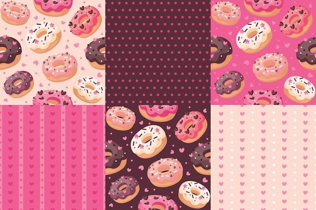 Глазированные пончики набор бесшовных паттернов. розовый, шоколадный, бежевый цвета.