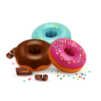Glazed donuts with colorful bonbons and chocolate isolated on white background