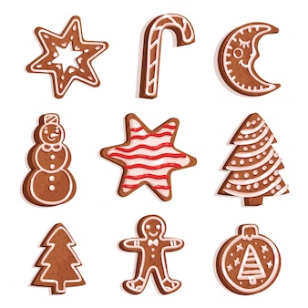 Глазированный пряник различной формы установлен, рождественские символы, новогодние элементы декора иллюстрация на белом фоне