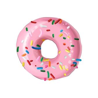 여러 가지 빛깔의 페인트에서 유약된 링 도넛 현실적인 수채화 색 그림의 스플래시