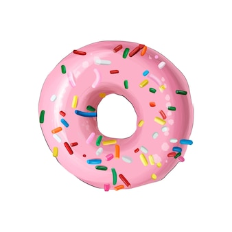 Glazed ring doughnut from multicolored paints splash of watercolor colored drawing realistic