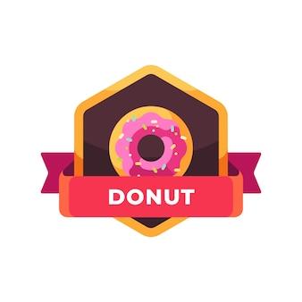 Glazed sprinkled pink donut. fast food label