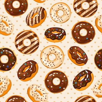 Glazed and sugar powdered  chocolate donuts seamless pattern with tasty dessert