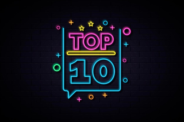 Gleaming colorful neon top ten sign
