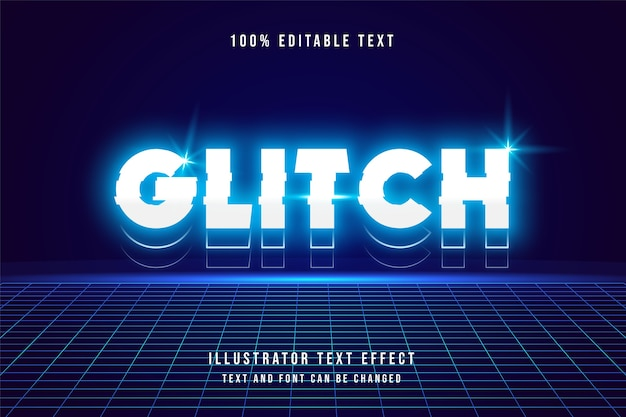 Glitch, редактируемый текстовый эффект 3d. неоновый стиль