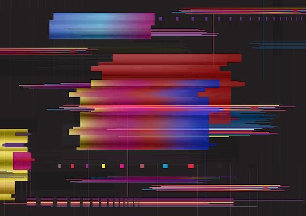 글리치 추상적인 배경입니다. 글리치 가로 줄무늬. 다채로운 디지털 신호 오류입니다.
