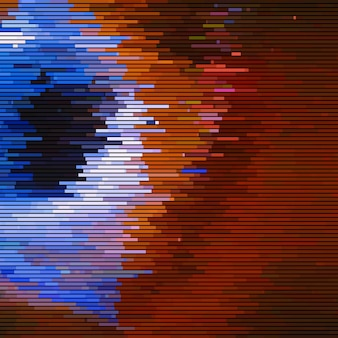 Glitch abstract background with distortion effect random horizontal orange and blue color lines