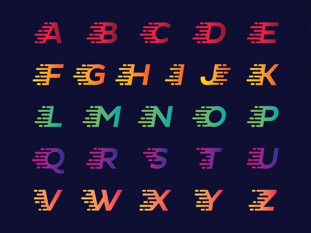 Glitch alphabet in different colors